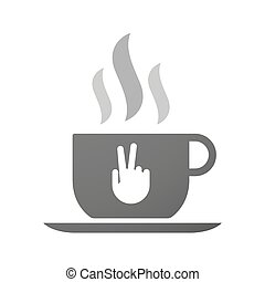 Cup of coffee icon  with a victory hand