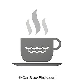 Cup of coffee icon  with a water sign
