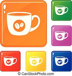 Cup of coffee icons set vector color