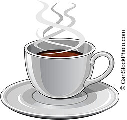 Illustration of a hot steaming cup of coffee. Includes cup and saucer.
