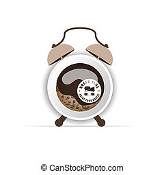 cup of coffee in an illustration of the clock
