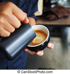 cup of coffee in coffee shop vintage color