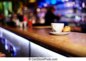 Cup of coffee in the restaurant