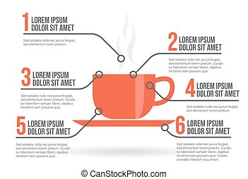 Cup of coffee infographic, vector illustration