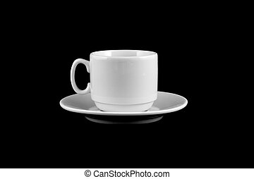 cup of coffee isolated on a black background