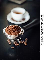 cup of coffee latte art in coffee shop vintage color tone