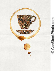 Cup of coffee made from coffee beans on white paper