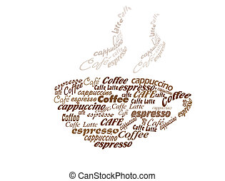 cup of coffee made of coffee words, vector illustration