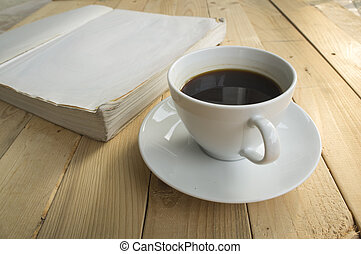 cup of coffee morning with book