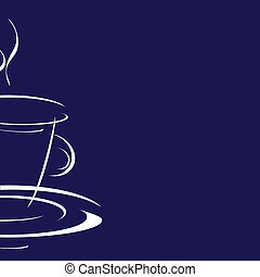 cup of coffee on a blue background