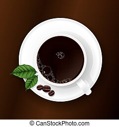 Cup of Coffee on a Brown Background