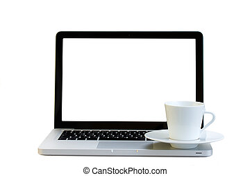 Cup of coffee  on a laptop