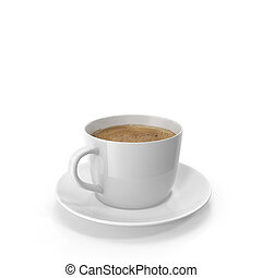 Cup of coffee on a saucer. 3D visualization