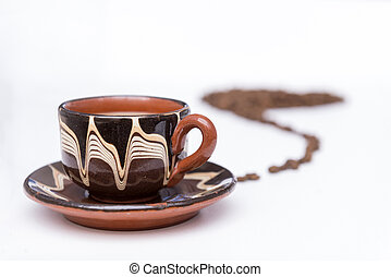 Cup of coffee on a white background,
