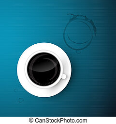 Cup of Coffee on Blue Background with Dirt, Stain, Print
