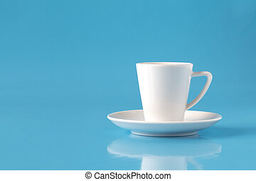 cup of coffee on blue