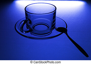 cup of coffee on the blue color background