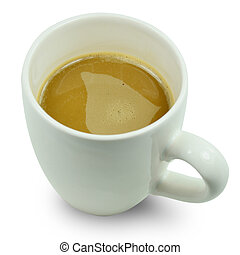 Cup of coffee on white background.
