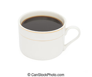 cup of coffee on white with clipping path
