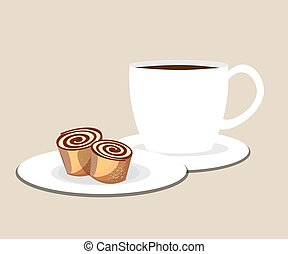 Cup of coffee or tea with roll.