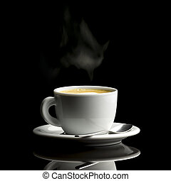 Cup of coffee over black background
