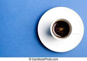 cup of coffee over the blue