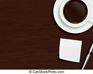 cup of coffee, paper sheet and pen lying on wooden desk