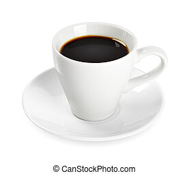 Cup of coffee isolated on white background. Clipping path...