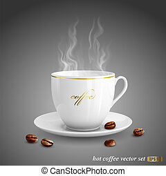 Realistic vector illustration of cup of coffee on dark gray background