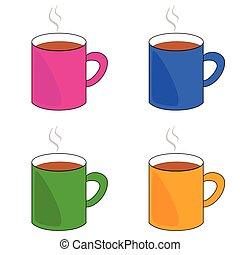 cup of coffee set illustration