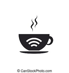 Cup of coffee shop with free wifi zone icon isolated. Internet connection placard. Flat design. Vector Illustration