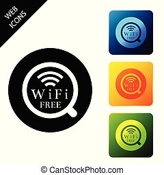 Cup of coffee shop with free wifi zone icon isolated. Internet connection placard. Set icons colorful square buttons. Vector Illustration
