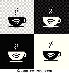 Cup of coffee shop with free wifi zone icon isolated on black, white and transparent background. Internet connection placard. Vector Illustration