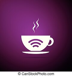 Cup of coffee shop with free wifi zone icon isolated on purple background. Internet connection placard. Flat design. Vector Illustration