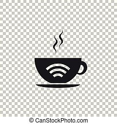 Cup of coffee shop with free wifi zone icon isolated on transparent background. Internet connection placard. Flat design. Vector Illustration