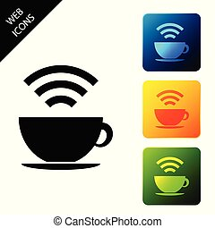 Cup of coffee shop with free wifi zone icon isolated on white background. Internet connection placard. Set icons colorful square buttons. Vector Illustration