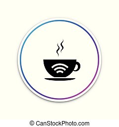 Cup of coffee shop with free wifi zone icon isolated on white background. Internet connection placard. Circle white button. Vector Illustration