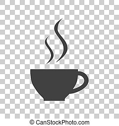 Cup of coffee sign. Dark gray icon on transparent background.