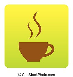 Cup of coffee sign. Vector. Brown icon at green-yellow gradient square with rounded corners on white background. Isolated.