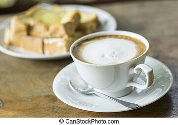Cup of coffee - breakfast,Cup of coffee and toast