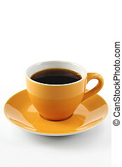 cup of coffee - orange cup of coffee on white background