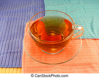 cup of coffee (tea) on white plate