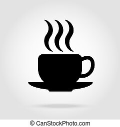cup of coffee tea with steam black icon on white eps10