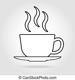 cup of coffee tea with steam line icon black on white