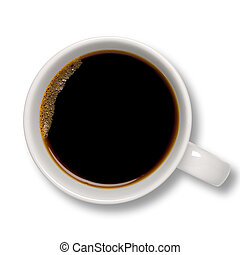 Cup of coffee - Top view of an isolated cup of coffee with ...