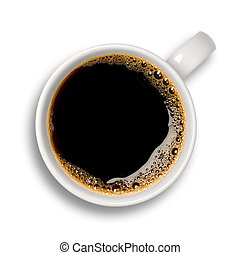 Cup of coffee - Top view of an isolated cup of coffee with...