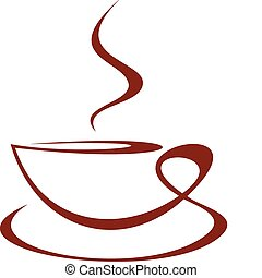 Cup of coffee - Vector stylized image of coffee cup on white...