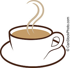 Vector illustration of a cup of steaming coffee.