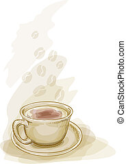 Cup of coffee. Watercolor style.