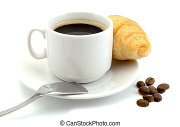cup of coffee with a croissant isolated on a white background
